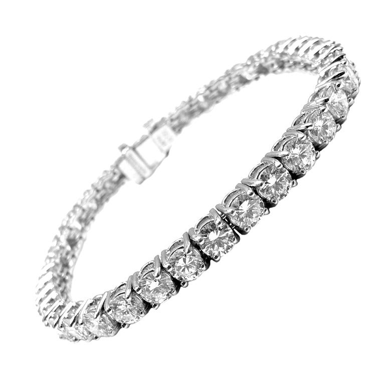 Tiffany And Co 9 23ct Diamond Platinum Tennis Bracelet At