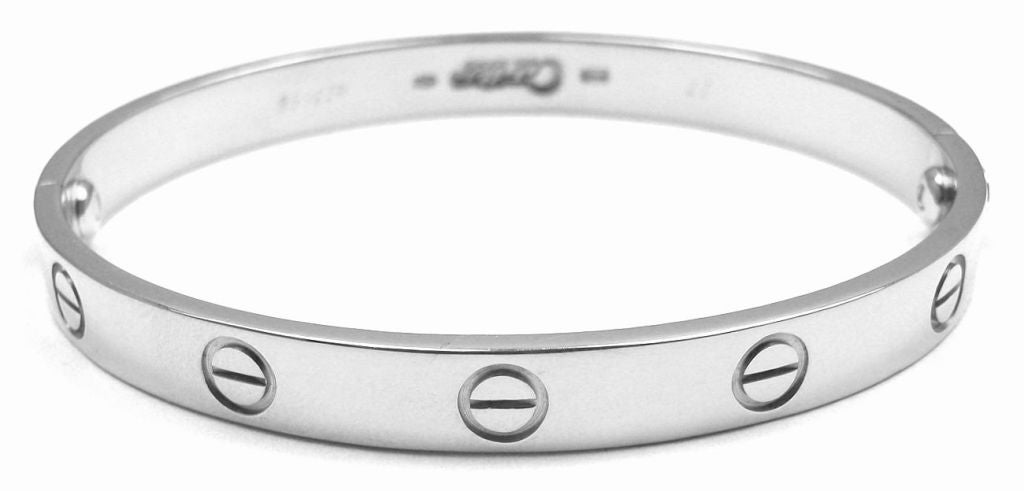 CARTIER Love Size 17 White Gold Bangle 5