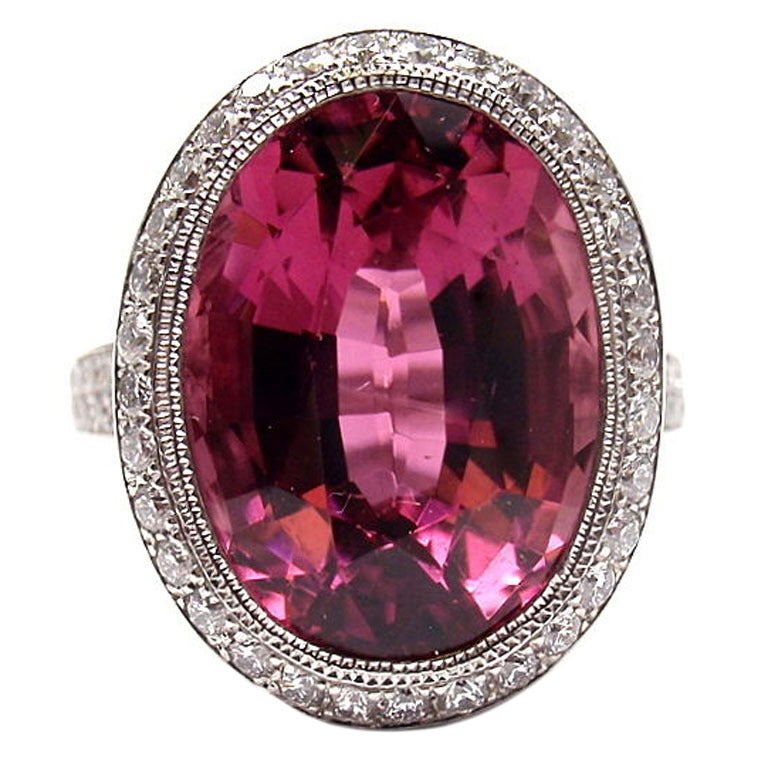 Tiffany And Co France Pink Tourmaline And Diamond Platinum