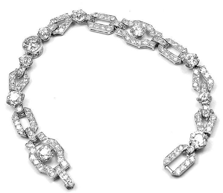 Mounted By Verdura Vintage Art Deco Diamond Platinum Bracelet In New Condition For Southampton