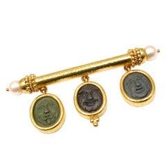 ELIZABETH LOCKE Carved Lava Cameo Pearl Yellow Gold Brooch Pin