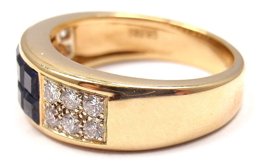 Cartier Invisible Set Sapphire Diamond Yellow Gold Band Ring In New Condition For Sale In Holland, PA
