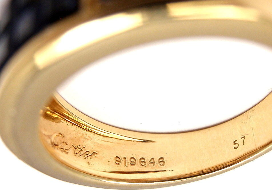 Cartier Invisible Set Sapphire Diamond Yellow Gold Band Ring 4