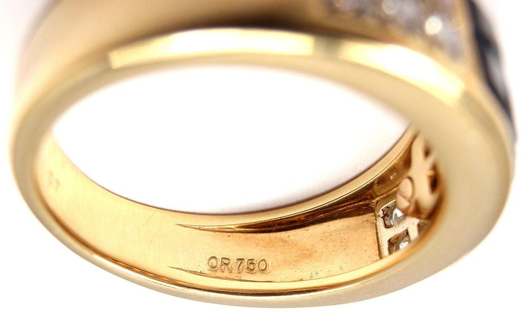 Cartier Invisible Set Sapphire Diamond Yellow Gold Band Ring For Sale 1