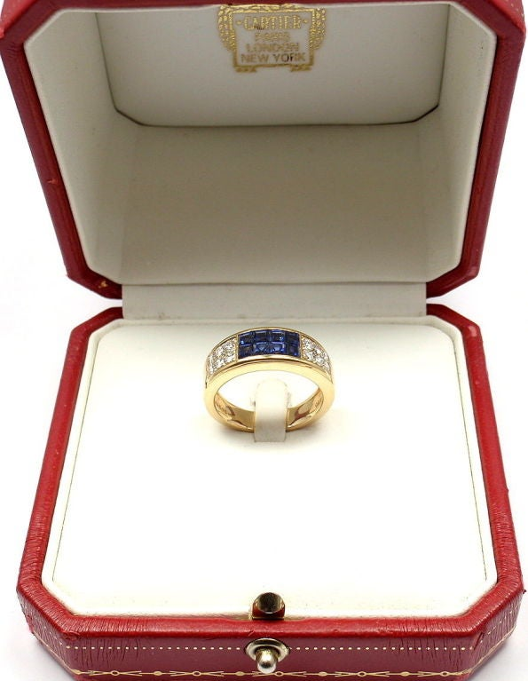 Cartier Invisible Set Sapphire Diamond Yellow Gold Band Ring For Sale 2