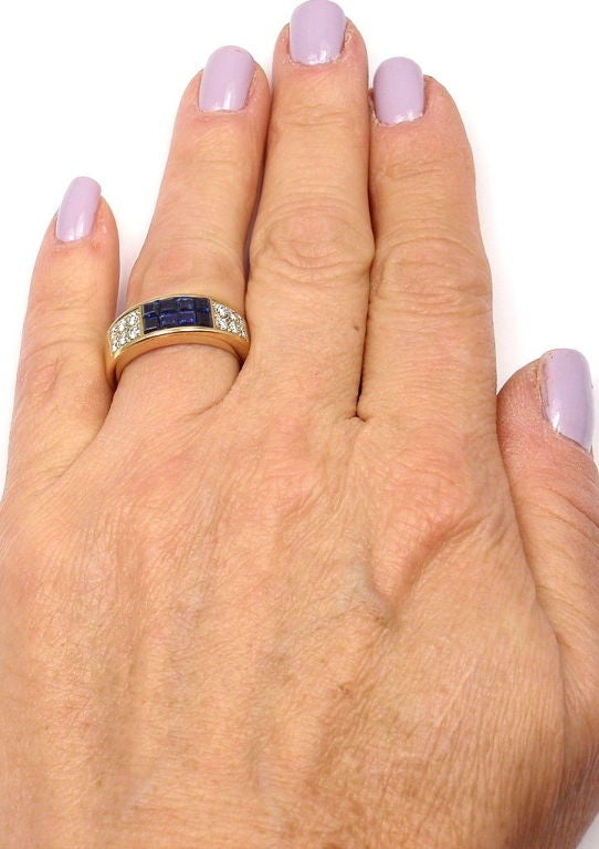 Cartier Invisible Set Sapphire Diamond Yellow Gold Band Ring 7