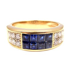 Cartier Invisible Set Sapphire Diamond Yellow Gold Band Ring