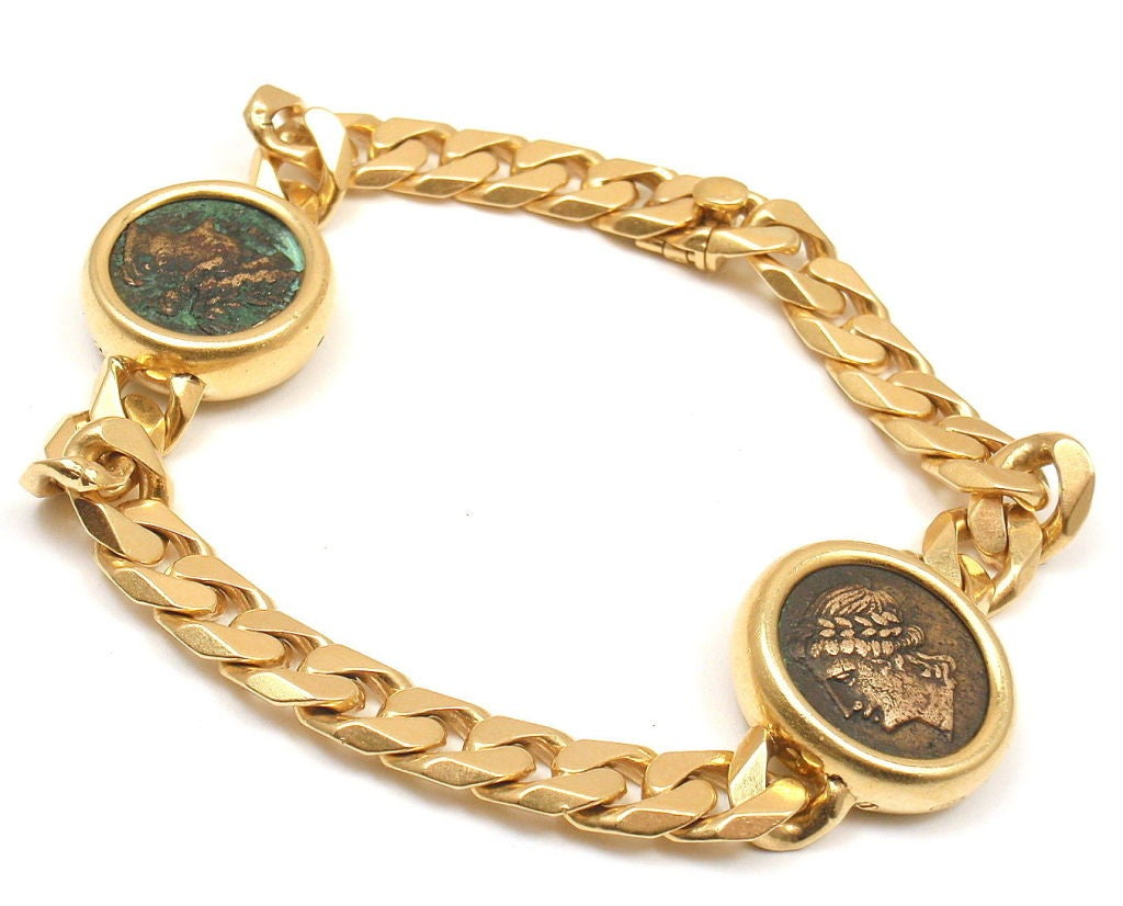 Bulgari Two Coin Chain Yellow Gold Bracelet At 1stdibs
