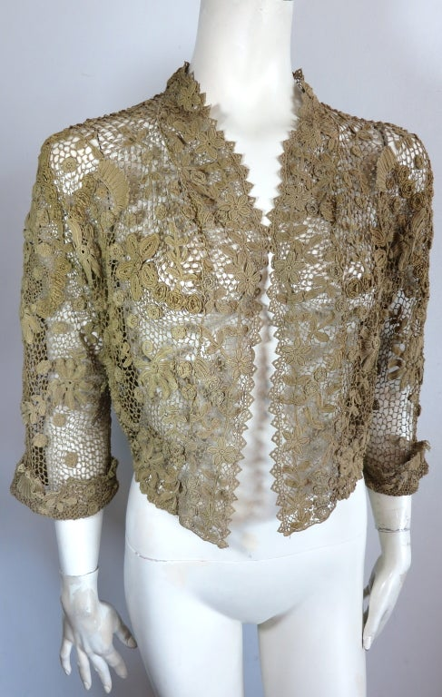 19th Century floral crochet jacket image 2
