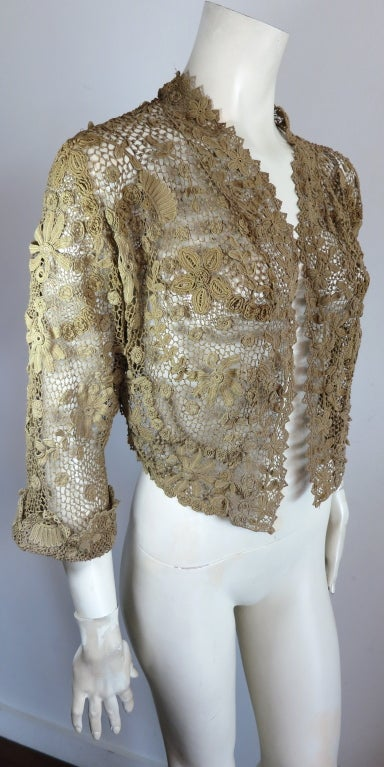 19th Century floral crochet jacket image 3