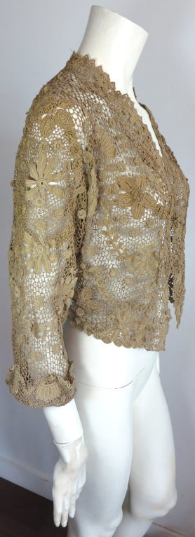 19th Century floral crochet jacket image 4