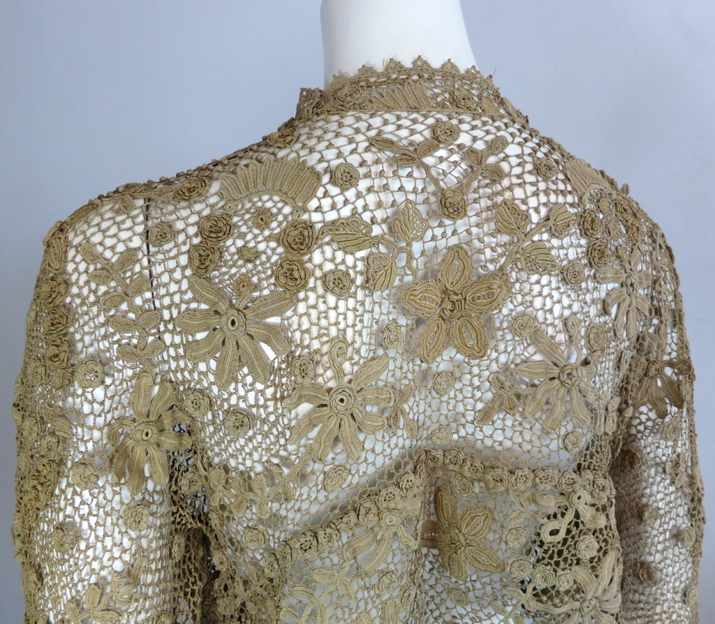19th Century floral crochet jacket 5