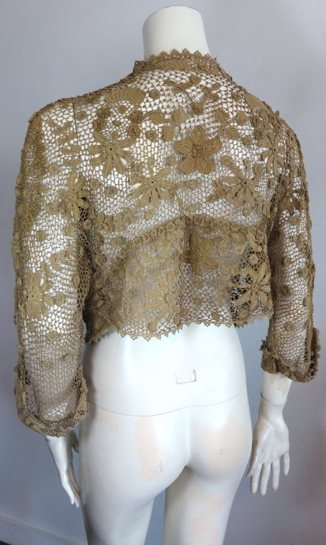 19th Century floral crochet jacket image 6