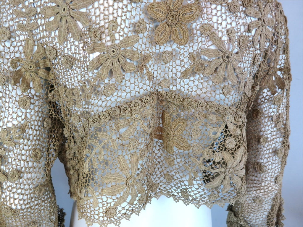 19th Century floral crochet jacket 7