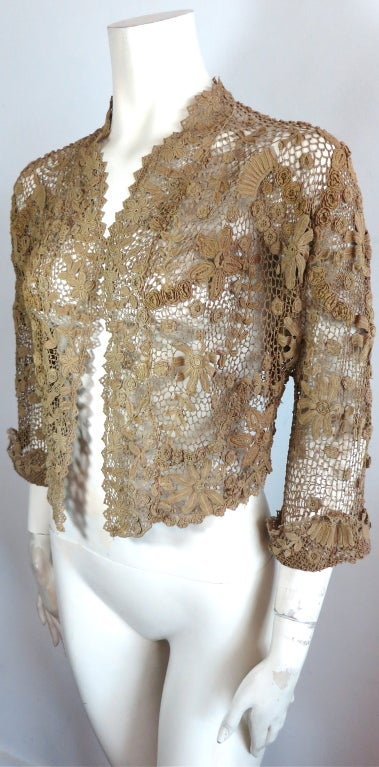 19th Century floral crochet jacket 8