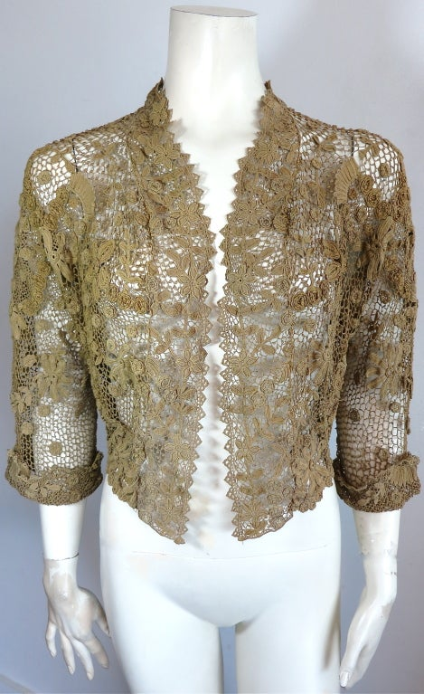 19th Century floral crochet jacket image 9