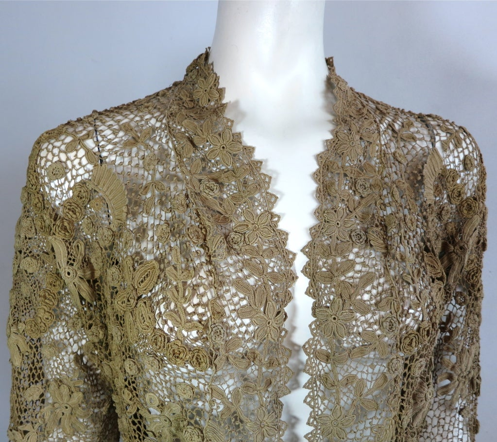 19th Century floral crochet jacket image 10