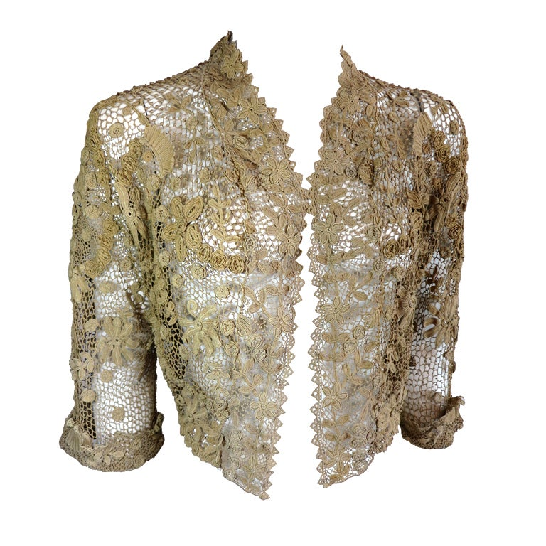 19th Century floral crochet jacket 1