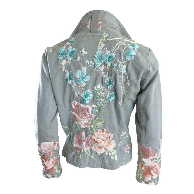 Hand embroidered sage denim jacket by biya at stdibs
