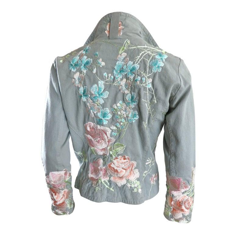 Hand Embroidered Sage Denim Jacket By Biya At 1stdibs