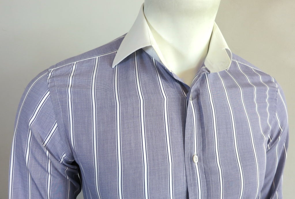 BadRhino Big Long Sleeve Striped Shirt In Blue White. £ Religion revere collar shirt in rayon with vertical stripe. £ ASOS DESIGN smart skinny stripe work shirt with grandad collar. £ Tommy Hilfiger stripe oxford shirt with stretch in slim fit in blue/white. £ Polo Ralph Lauren stripe shirt in slim fit blue.