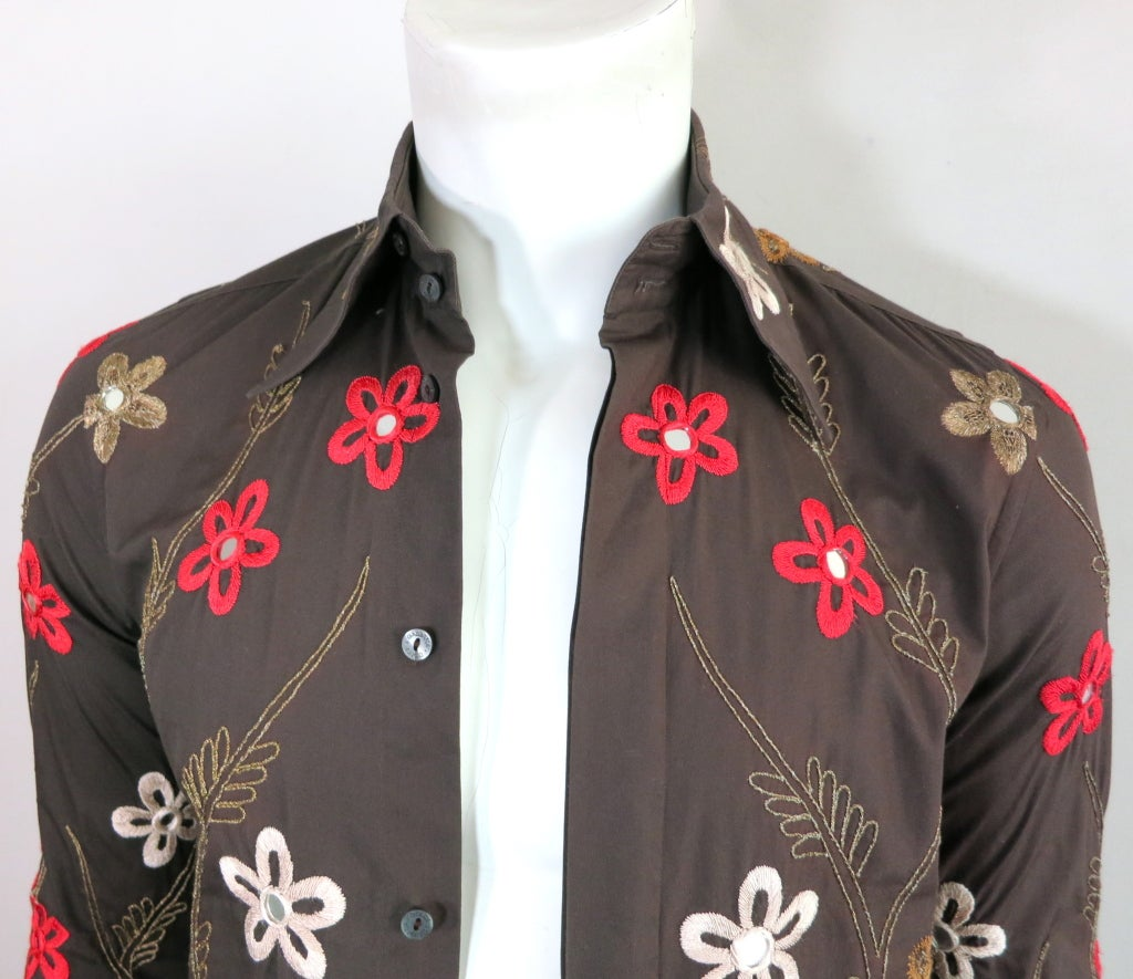 Dolce and gabbana men 39 s floral bullion embroidery shirt at for Mens dress shirt monogram location