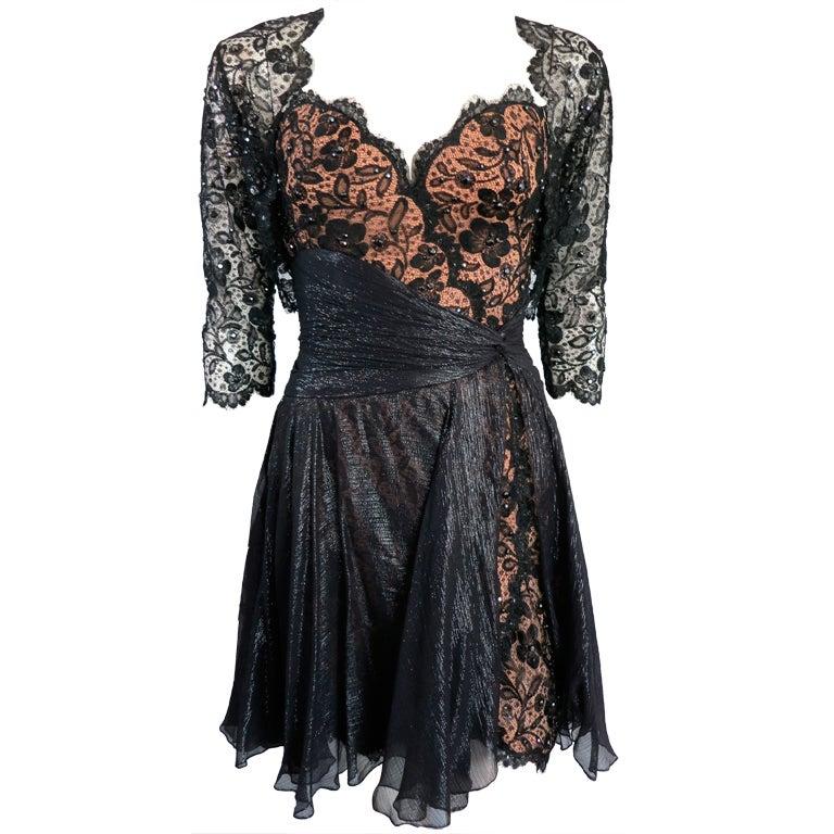 Vintage Bob Mackie 1980 Crystal Embellished Lace Dress And