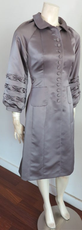Unworn 1970's era duchess satin gray dress image 2