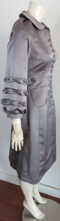 Unworn 1970's era duchess satin gray dress image 4