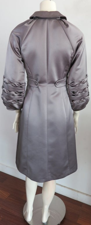 Unworn 1970's era duchess satin gray dress image 5