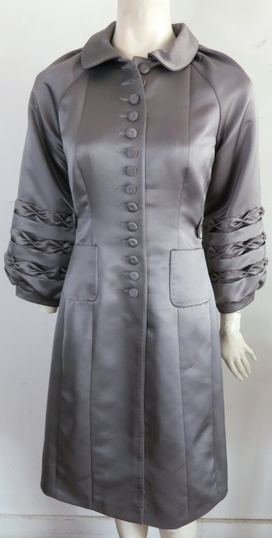 Unworn 1970's era duchess satin gray dress image 6