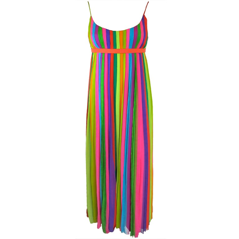 Vintage 1970's era silk chiffon rainbow stripe pleated ...