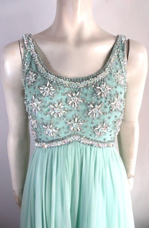 Vintage 1960's era hand beaded silk evening dress image 2