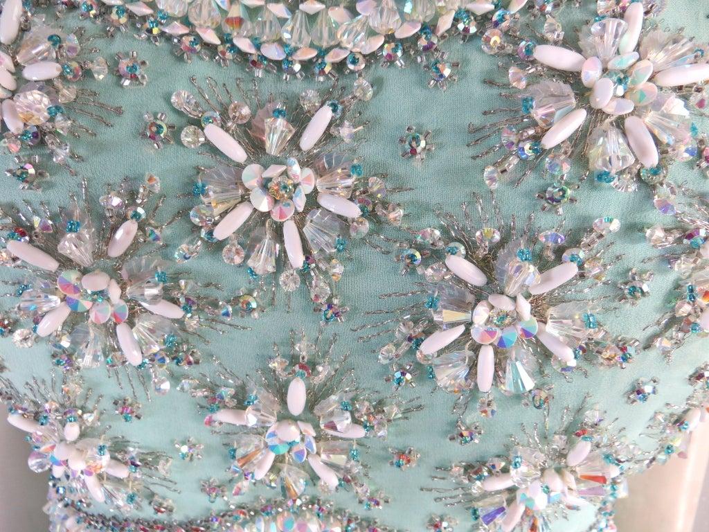 Vintage 1960's era hand beaded silk evening dress image 3
