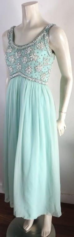 Vintage 1960's era hand beaded silk evening dress image 4