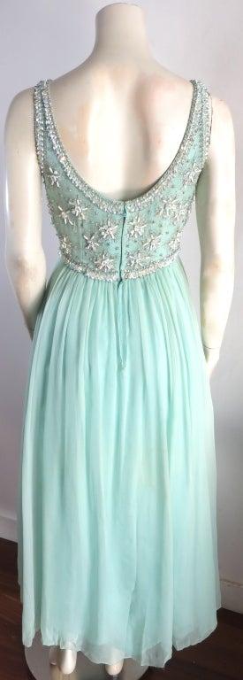 Vintage 1960's era hand beaded silk evening dress image 5