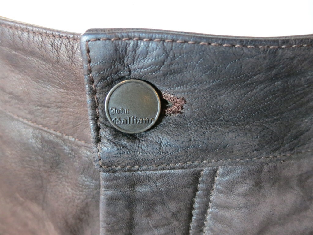 JOHN GALLIANO Dark brown goat skin leather pants for men image 4
