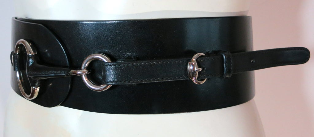 gucci horsebit hardware black leather wide belt at