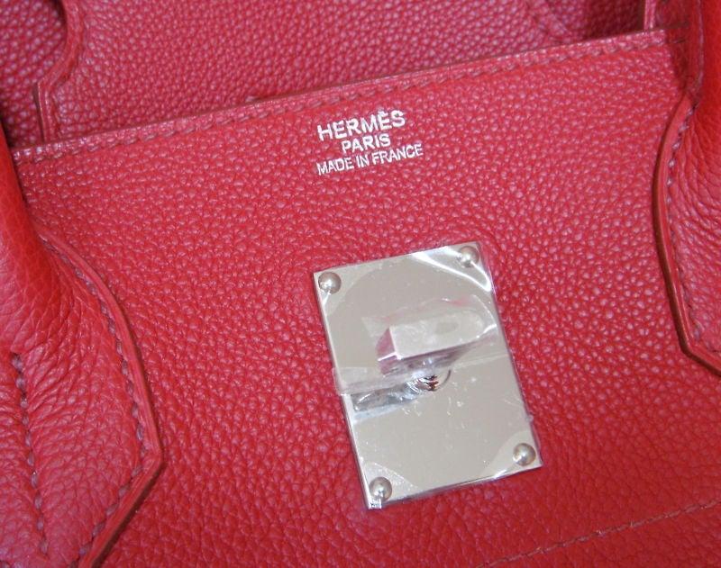 birkin bag replica for sale - New HERMES PARIS 42cm Gaultier Rouge Garance Clemence Birkin Bag ...