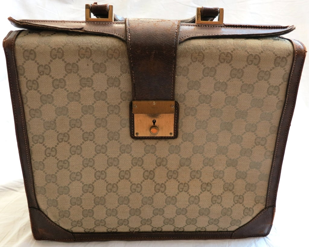 Vintage GUCCI 1970 Monogram canvas & leather accordion briefcase image 2