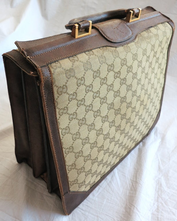 Vintage GUCCI 1970 Monogram canvas & leather accordion briefcase image 6