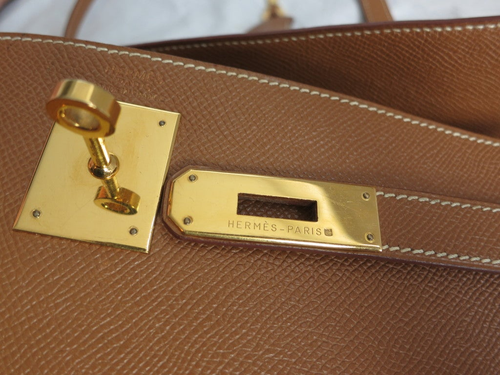 HERMES PARIS Kelly bag 32cm Tan leather gold hardware at 1stdibs