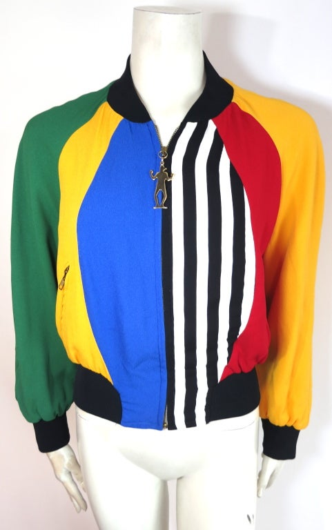 MOSCHINO ITALY 1993 Color blocked bomber jacket image 2