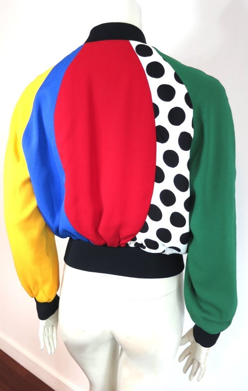 MOSCHINO ITALY 1993 Color blocked bomber jacket image 3