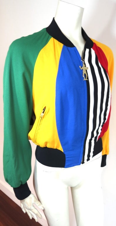 MOSCHINO ITALY 1993 Color blocked bomber jacket image 5