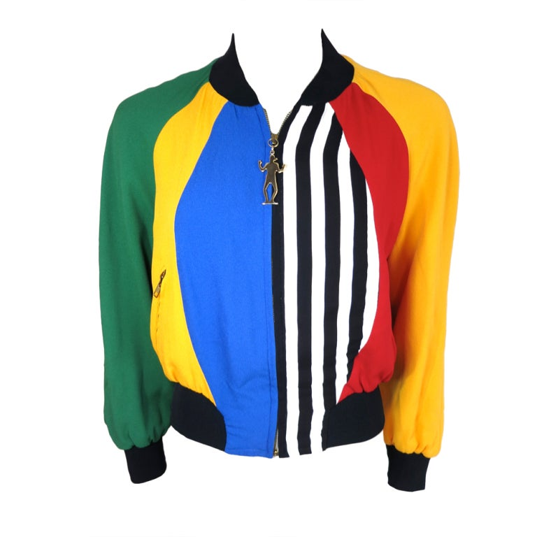 MOSCHINO ITALY 1993 Color blocked bomber jacket