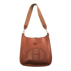 Vintage HERMÉS PARIS 1979 Evelyne saddle brown leather bag