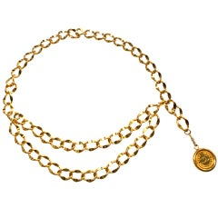 CHANEL PARIS Polished gold finish metal chain logo coin belt