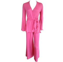Vintage STEPHEN BURROWS 1970's 3pc. pink lettuce hem ensemble