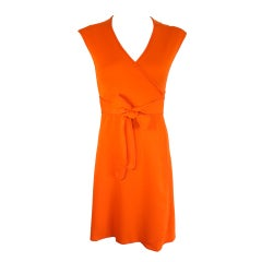 Vintage STEPHEN BURROWS 1970's tangerine knit jersey wrap dress